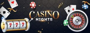 Realistic slot machine with roulette wheel, casino chips and playing cards illustration on abstract background for Casino Night party banner design. 1